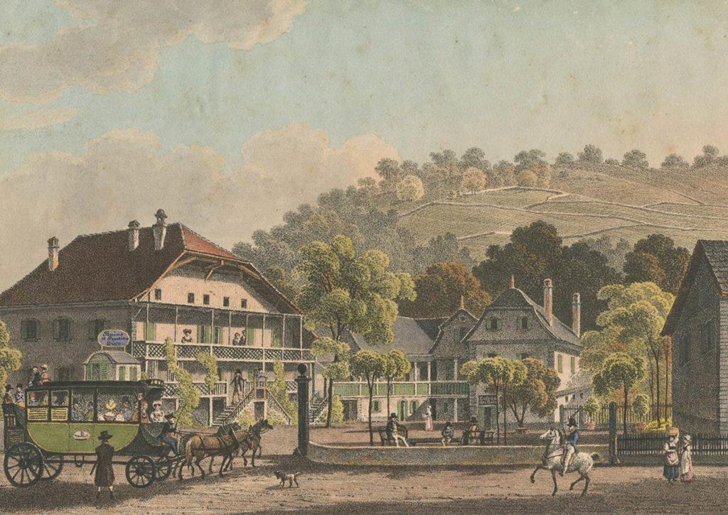 Bains de Bex, Canton de Vaud, tenus par Louis Dürr. Lith. de Spengler et Cie à Lausanne