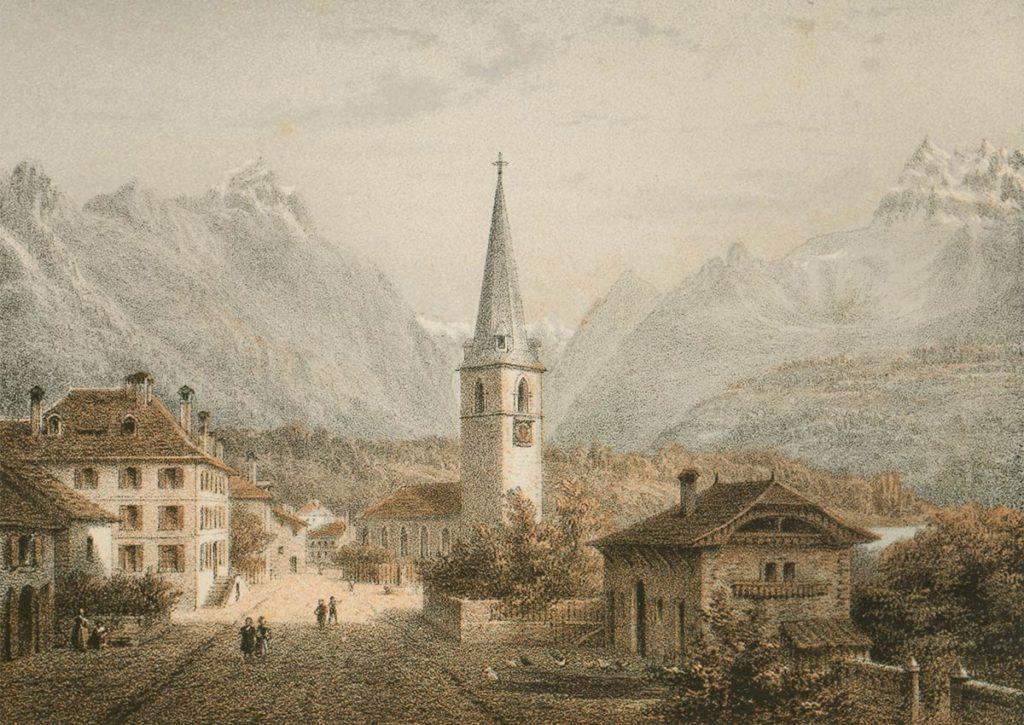 Bex, vers 1840. Dessiné par E. Lafon et gravée par A. Cuvillier