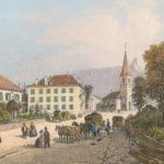 Bex, l'Hôtel de l'Union vers 1860. Gravure par Louis-Julien Jacottet (1806-1880). del. et lith., Blanchoud Edit. à Vevey. Gravure 11cm x 15,9cm