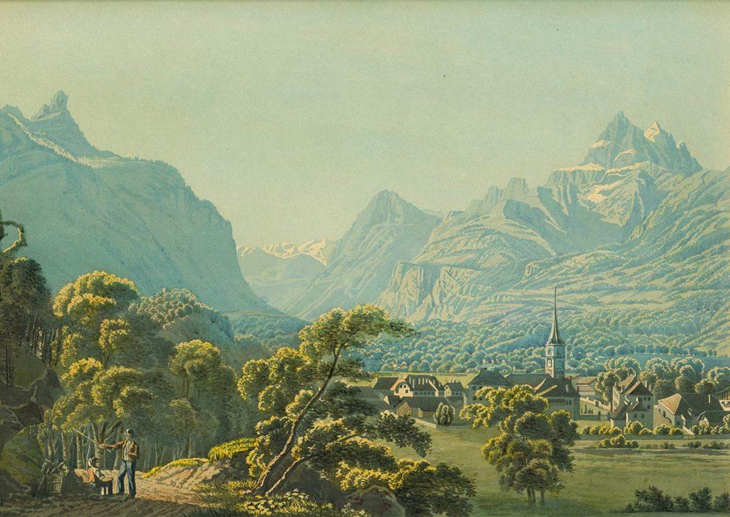 Bex au Canton de Vaud, 1835. Dessiné d'après nature par J. Wetzel, gravé par C. Rordorf et publié par Leuthold à Zürich
