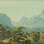 Bex au Canton de Vaud, 1835. Dessiné d'après nature par Johann Jakob Wetzel (1781 - 1834), gravé par Conrad Caspar Rordorf (1800-1847), et publié par Hans Félix Leuthold à Zürich