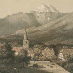 Bex en 1813. Publié par le Bazar Vaudois. Martens del. Imp. Lemercier, Paris. Gravure 13,3 x 18cm