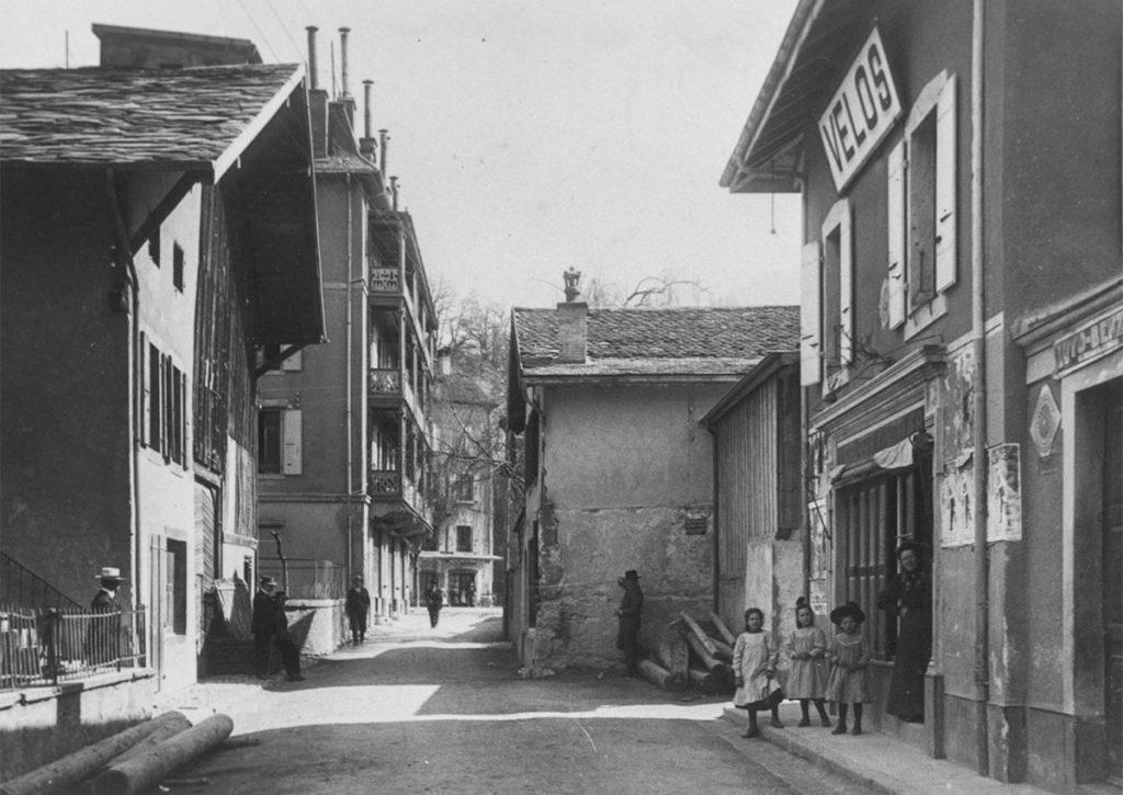 Bex, la rue du Cropt en 1914