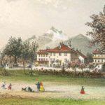 Vallée du Rhône. Pension de Crochet à Bex. Gravure par Louis-Julien Jacottet (1806-1880). Dimensions 18.4 x 13cm. del. et lith. Blanchoud-Edit à Vevey