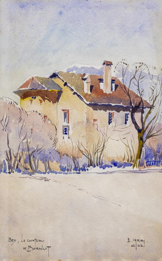 Aquarelle de la maison forte, par Gribi, 1922