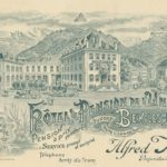 Carte postale publicitaire de l'Hôtel Pension de l'Union à Bex-les-Bains. © Muller & Co, Lausanne