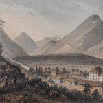 Vallée du Rhône, Bains de Lavey, vers 1860. Gravure par Louis-Julien Jacottet (1806-1880)